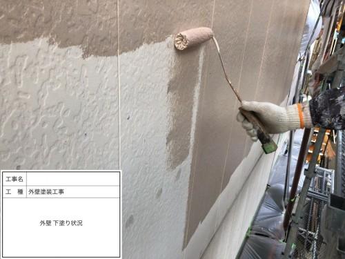 むろや外壁塗装工事外壁下塗り状況1